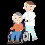 車椅子の高齢者の女性と介護士のイラスト