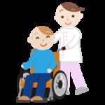 車椅子の若者の男性と介護士のイラスト