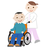 車椅子の中年の男性と介護士のイラスト