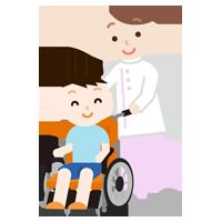 車椅子の男の子と介護士のイラスト