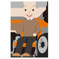 車椅子に乗る高齢者の男性のイラスト