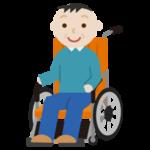 車椅子に座る中年の男性のイラスト