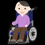 車椅子に座る中年の女性のイラスト