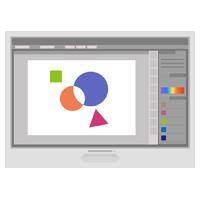 絵を描くアプリが表示されるPCのイラスト(グレー)