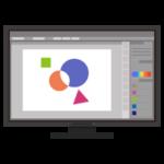 絵を描くアプリが表示されるPCのイラスト(黒)