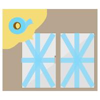 養生テープで窓ガラスを補強するイラスト