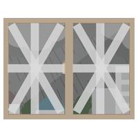 養生テープで窓ガラスを補強するイラスト(風景あり)