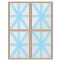 養生テープで大きい窓ガラスを補強するイラスト