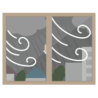窓から見る台風、暴風雨のイラスト