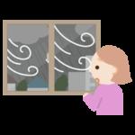 窓から台風、暴風雨を見る若い女性のイラスト