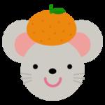 ネズミとみかんのイラスト(干支)