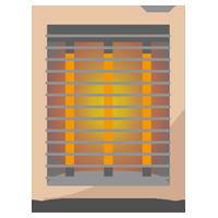 カーボンヒーターのイラスト(電源オン)