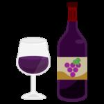 グラスワインとワインボトルのイラスト(赤)