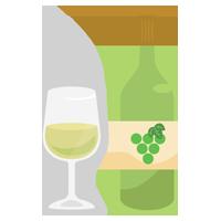 グラスワインとワインボトルのイラスト(白)