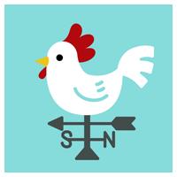 風見鶏のアイコンイラスト(丸)
