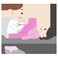 関節のリハビリをする中年の女性のイラスト