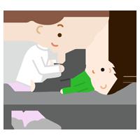 関節のリハビリをする男の子のイラスト