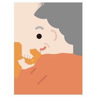 ものを掴むリハビリをする高齢者の女性のイラスト