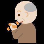 ものを掴むリハビリをする高齢者の男性のイラスト