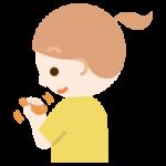 ものを掴むリハビリをする女の子のイラスト