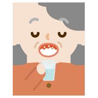 うがいをする高齢者の女性のイラスト