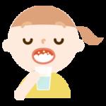 うがいをする女の子のイラスト