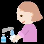 手を洗う若い女性のイラスト