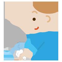 手を洗う若い男性のイラスト