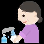 手を洗う中年の女性のイラスト