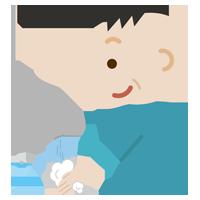手を洗う中年の男性のイラスト