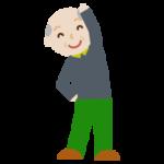 体操をする高齢者の男性のイラスト