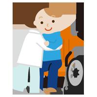 若い男性が車椅子へ移乗介助されるイラスト