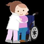 若い女性が車椅子へ移乗介助されるイラスト