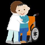 中年の男性が車椅子へ移乗介助されるイラスト
