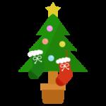 靴下が下がったクリスマスツリーのイラスト