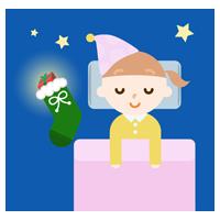 女の子とクリスマスイブの夜のイラスト