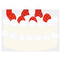 苺のホールのショートケーキのイラスト