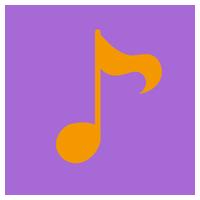 音符のアイコンイラスト(丸)