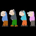 体操をする高齢者の女性と男性のイラスト