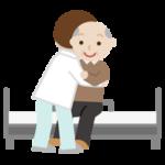 高齢者の男性がベッドへ移乗介助されるイラスト