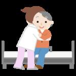 高齢者の女性がベッドへ移乗介助されるイラスト