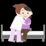中年の女性がベッドへ移乗介助されるイラスト