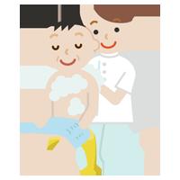 入浴介助のイラスト1(中年の男性)