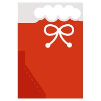 クリスマスプレゼント用の赤い靴下のイラスト1