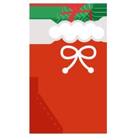 クリスマスプレゼント用の赤い靴下のイラスト2