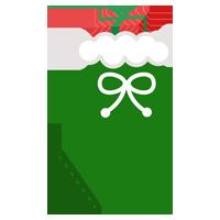 クリスマスプレゼント用の緑色の靴下のイラスト2