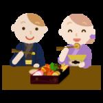 お正月のおせちを食べる若者のイラスト