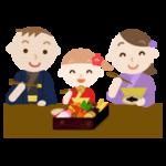 お正月のおせちを食べる家族のイラスト1