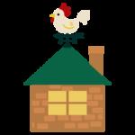 屋根に風見鶏がついた家のイラスト1