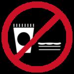 飲食禁止のアイコンイラスト(黒赤)